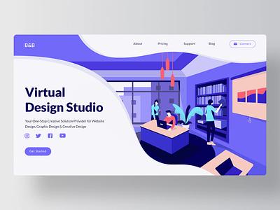Virtual Design Studio landing page invites dribbble invite invitation invite dribbble concept illustration visual library curve office studio designer website page landing virtual