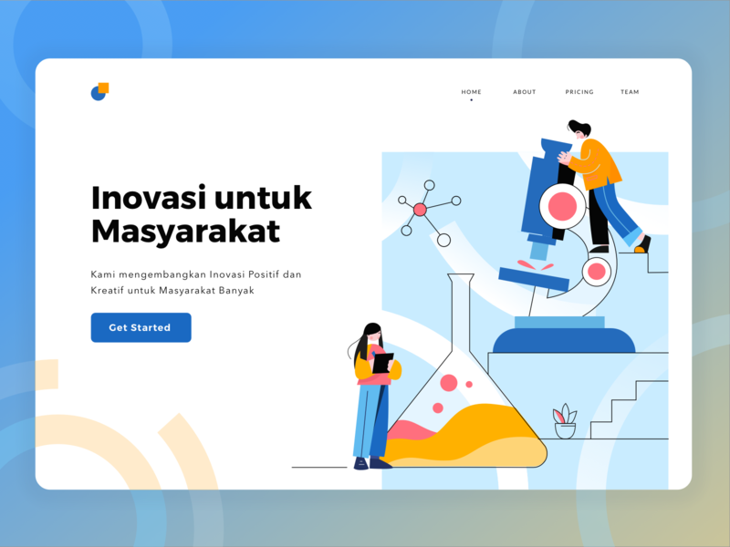 Labs Landing Page debut shot microscope labs pipes glass work website pattern abstract laboratory ui icons illustration simple line page landing