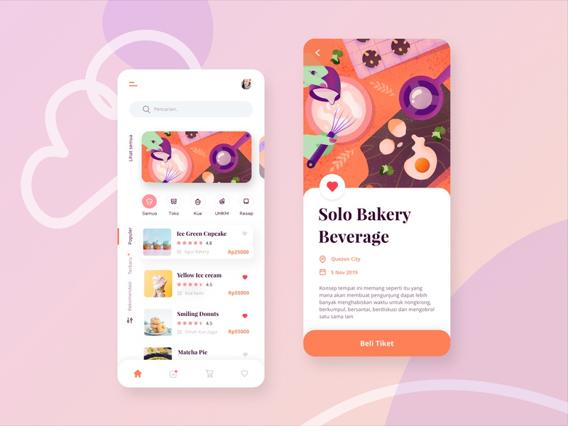 Bakery and Beverages Mobile App Exploration procreate cooking note recipe bread noise soft design ui icons kitchen illustration simple beverage bakery page screen phone app mobile