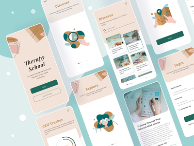 Therapy school app psychology ui platform mobile medicine illustration icon line simple feminime cute color muted earthy hospitality patient school therapy health