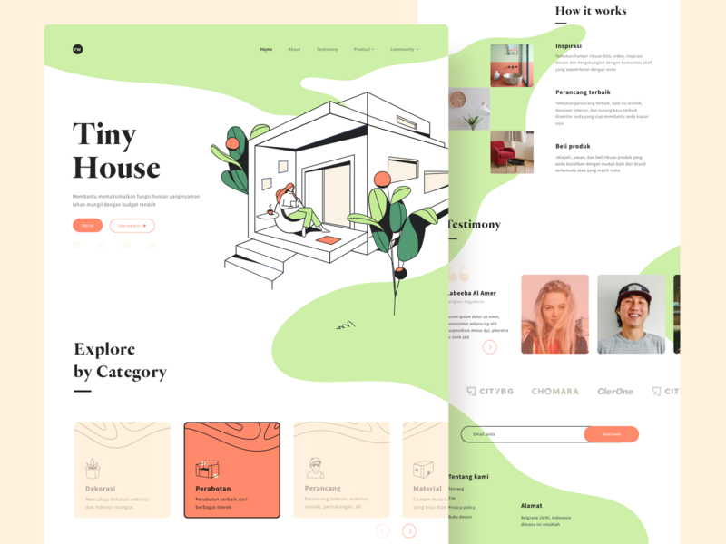 Tiny house landing page exploration flower nature table sit woman cute app interior arhitect decoration colorful simple house tree art line web website page