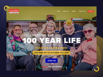 Website Design for Positive Age Event colorful design typography ux design aged elderly uidesign event web desgin modern design