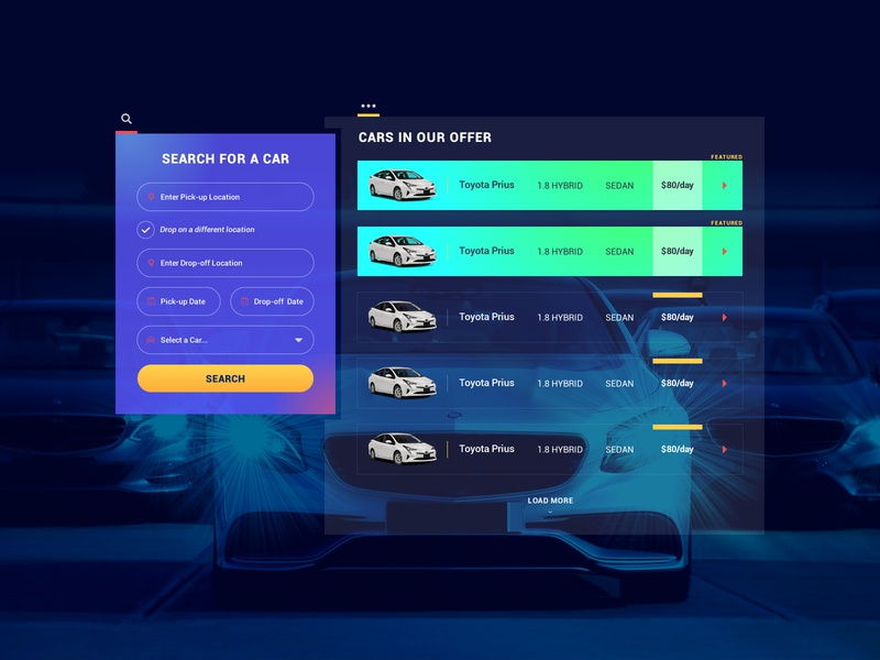 Rent a Car Search Widget colorful design dashboard design smooth adobe xd vibrant simple design uidesign ux design search engine search bar