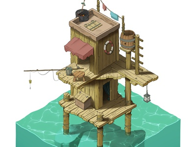 Water Home caribbean hut angler fisher ocean art game isometric shelter home water