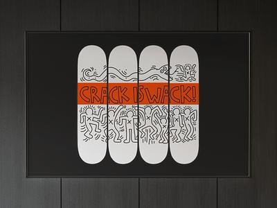 Keith Haring Skateboard Illustration artwork art vector illustration typography inspiration