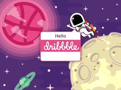 Destination: Dribbble space moon illustrator