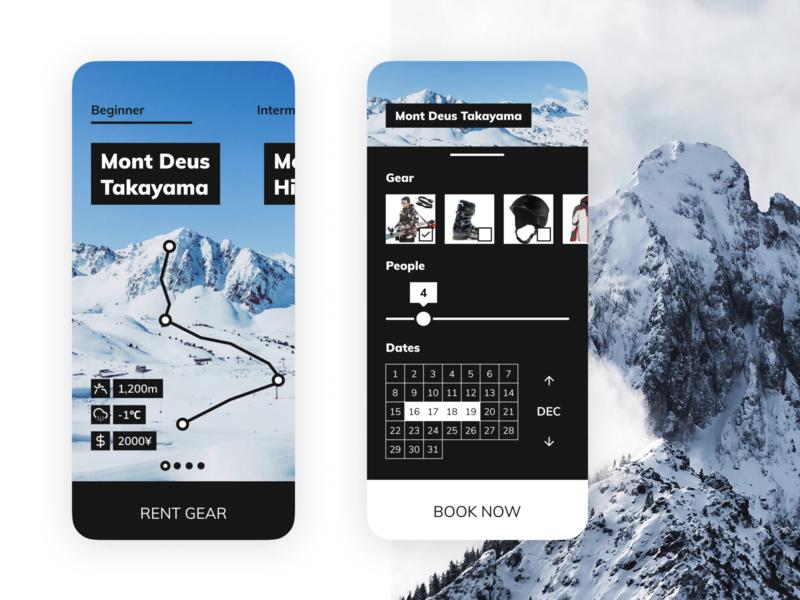 Ski Resort Booking App User Interface user experience user interface iphone mobile design snowboarding uidesign ui ux skiing nature mobileui
