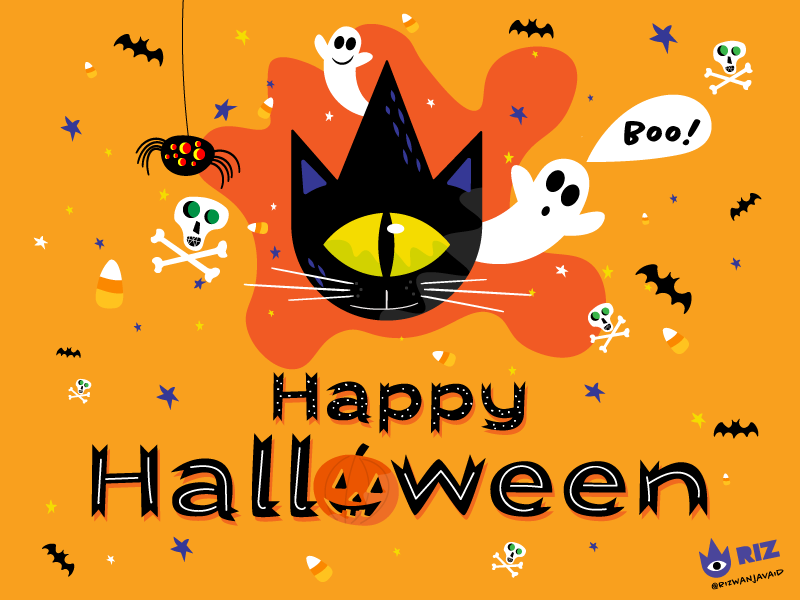 Happy Halloween! 🎃 riz eye stars boo bats spiders skulls cat pumpkins halloween digital art illustration