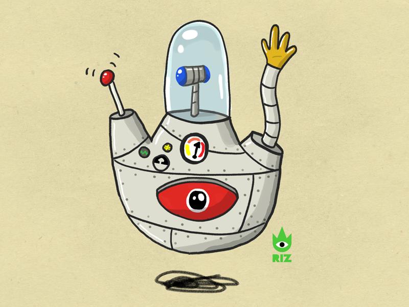 Roger Roger robot studio riz people eye digital art artwork illustration