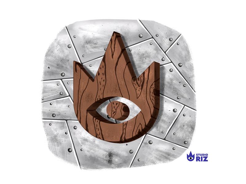 Metal and wood eye small