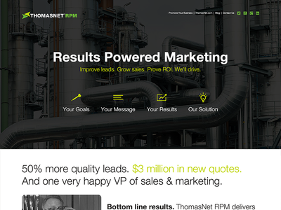 Department Website mfg web design typography marketing responsive icons intro contrast industrial modular rwd