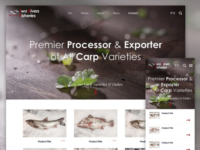 Two Rivers Fisheries minimal clean products grid mobile responsive imagery fish typography web design