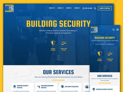 Building Security services blue yellow security web design responsive icons typography