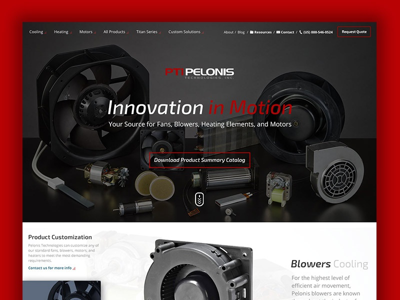 Pelonis Home web design rwd fans industrial black carousel home home page red mfg