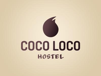 Coco Loco Logo (Light) logos beach light calm mark organic purple beige brown coconut hostel logo