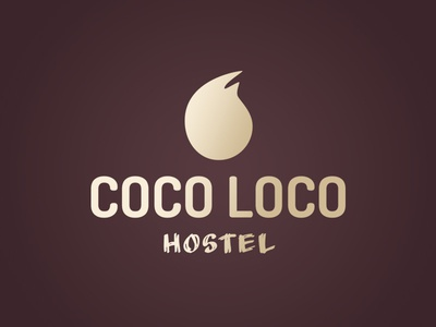 Coco Loco Logo (Dark) logos beach dark calm mark organic purple beige brown coconut hostel logo