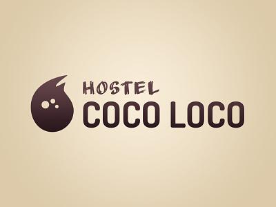 Coco Loco Logo v2 (Light)  purple organic mark logos logo light hostel coconut calm brown beige beach