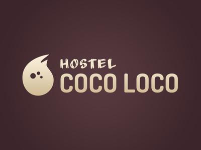 Coco Loco Logo v2 (Dark)  purple organic mark logos logo hostel dark coconut calm brown beige beach
