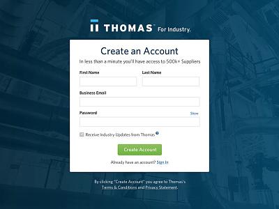 Thomas Registration Page account blue industrial ui web design form signup registration