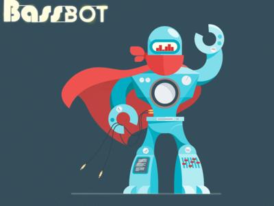 All Hail the Bassbot! :D drum-and-bass dnb music stayhard bassbot illustration sci-f flat inkscape adobe-illustrator vector robot