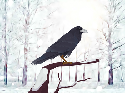 """Basho: """"On a bare branch a crow is perched"""" raven winterforest forest silence crow corvus snow winter adobeillustrator inkscape adobe-ilustrator vector"""