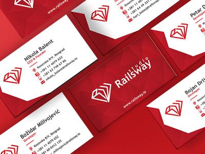 Studio RailsWay Business Card monogram logo design logo card business card