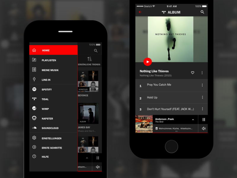 Music Player - Menu with Icons and album view music mobile app ios