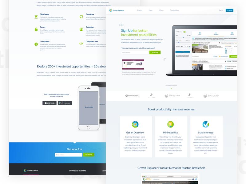 Landing Page for crowdexplorer.io web ui minimal clean crowdfunding search website landing page