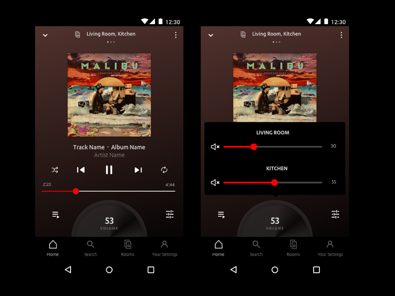 Multiroom - Now Playing music player ui knob volume knob dark ui app multiroom music player