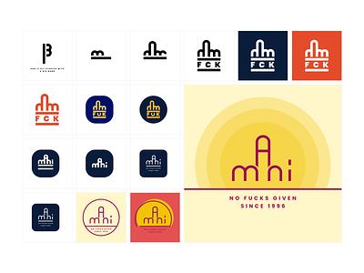 Symbol exploration - mani typography vector logo design illustration minimalist