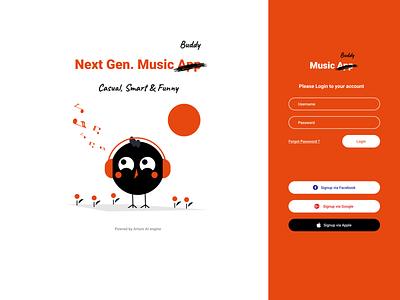Music App  Login UI bird orange dailyuichallenge login design user ui ux experience minimalist