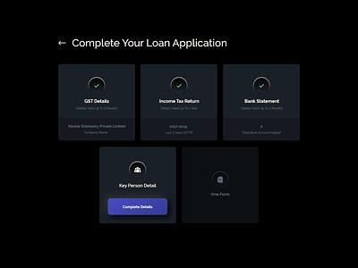 Business Loan Application UI profile loans typography illustration design finance dashboard minimalist cards ui loan app dark mode dark ui