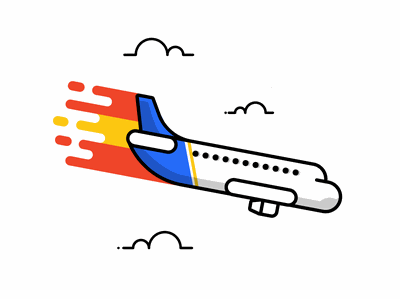 Plane Crash illustration redesign vector design minimalist dailyicon dailyillustration aircraft airplane clouds orange blue lineicon icondesign icon illustration crash plane