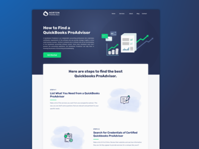 Finance accounting landing page