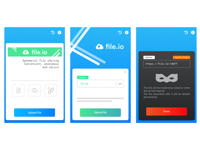 Fileio Android App blue lines design rounded corners gradient buttons android app design ui android app