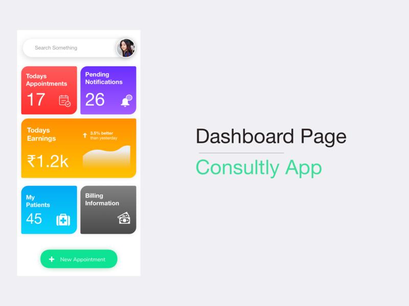 Dashboard page design flutter app design