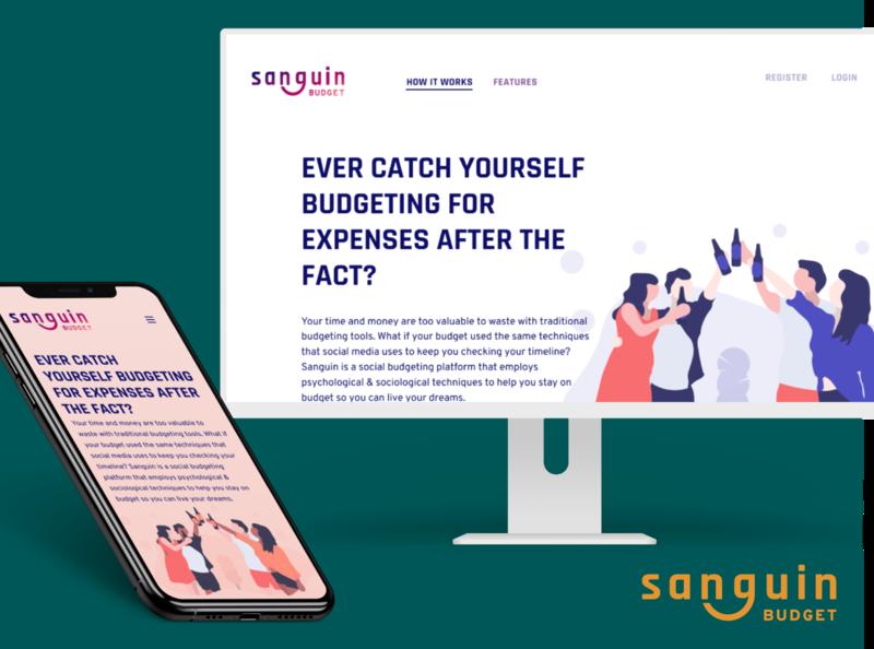 Sanguin Budget Landing Page logo design branding landing page design