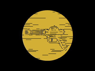 Ray Gun Gold geek death ray death star laser sci-fi star wars playoff blackformat space icons ray gun