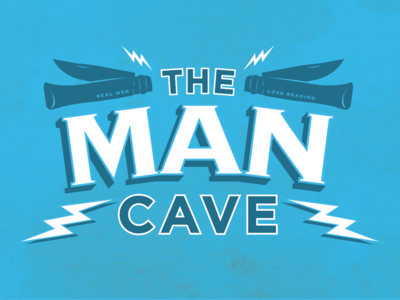 The Man Cave vintagelettering vintagesigns lightening pocketknife books reading bookish bookshopsignage bookshop themancave logo signage