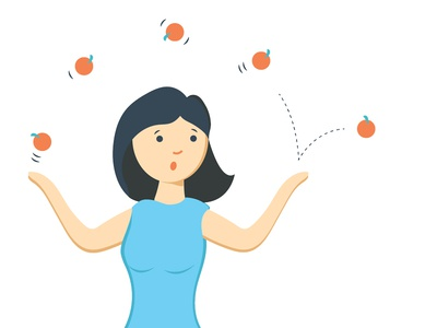 Busy Woman expression female face character design stress management busy juggler balls juggling nectarines apples mom woman