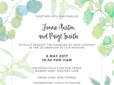 Wedding Invitation Website greenery botanical illustration adobe xd ux responsive design watercolours wedding website wedding