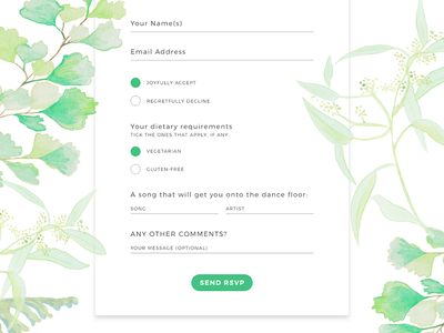 Wedding RSVP Form illustration greenery botanical online invitation watercolours wedding website ux form design rsvp form