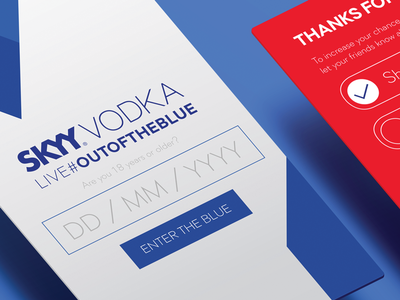 #outoftheblue campaign for SKYY Vodka South Africa app interface web app mobile app age gate ui design
