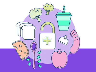 Illustrations for a Food App – A/B testing  calorie tracker ui design app design feature screens vector illustrations food illustrations food app food ab testing