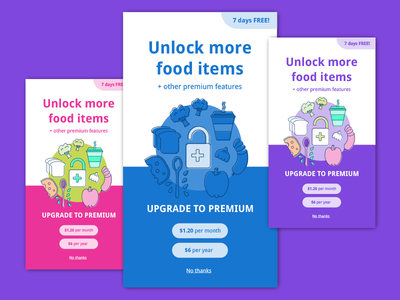 Food App Screens for A/B testing user experience ui design vector illustration ab testing upgrade prompt upgrade to premium premium features