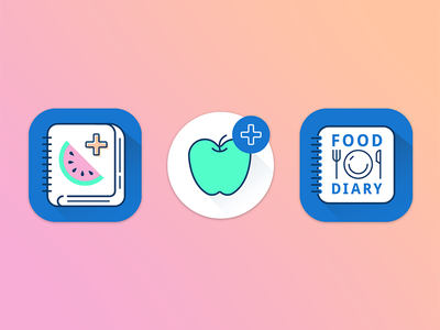 App icon concepts fruit logo app icon ingredients food diary food app food calorie-tracking