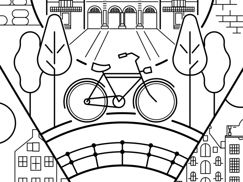 Amsterdam poster (WIP) fietsen fiets cycle line work museum bridge trees travel destination city poster location netherlands vector cycling bicycle amsterdam