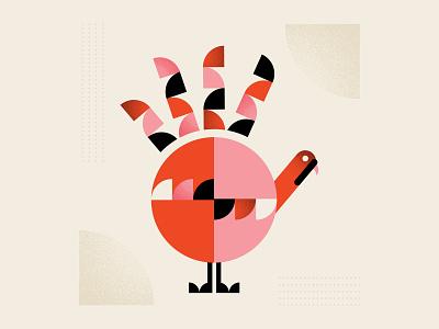 Geometric Gobble hand thanksgiving turkey shapes texture color illustrator vector design illustration