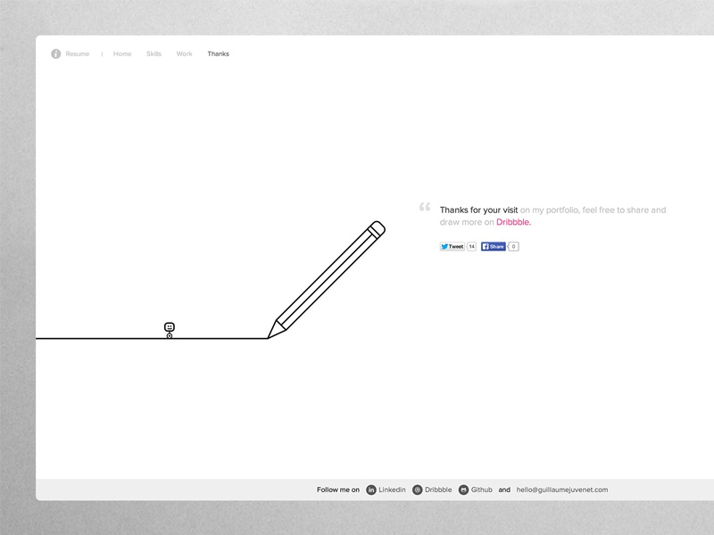 Draw me a portfolio ! simple minimal layout web paris svg animation white black line draw portfolio