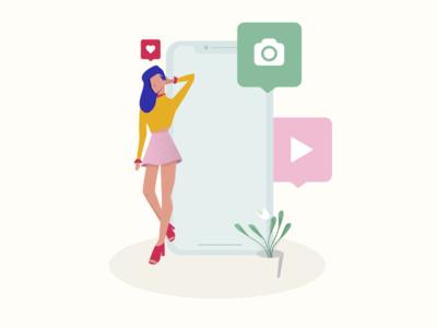 Mobile Phone Social Media Girl Illustration